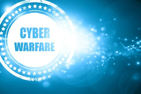 intercept: Glittering blue stamp: Cyber warfare background with some smooth lines Stock Photo