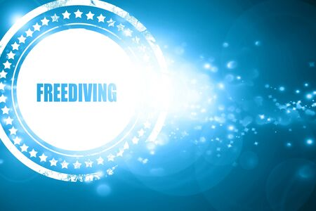 freediving: Glittering blue stamp: freediving sign background with some soft smooth lines