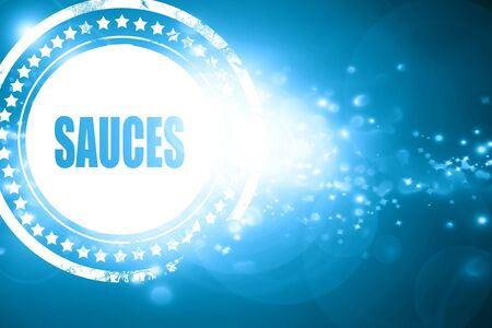 sauces: Glittering blue stamp: Delicious sauces sign with some soft smooth lines