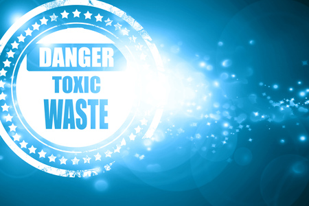 toxic waste: Glittering blue stamp: Toxic waste sign with some smooth lines