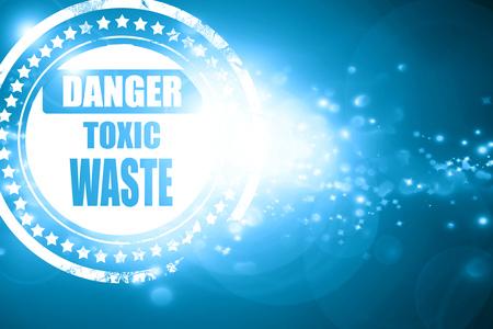 residuos toxicos: Resplandeciente sello azul: Muestra de desechos t�xicos, con unas l�neas suaves