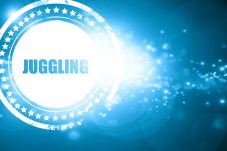 juggle: Glittering blue stamp: juggling sign background with some soft smooth lines