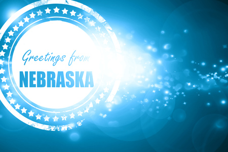 nebraska: Glittering blue stamp: Greetings from nebraska with some smooth lines