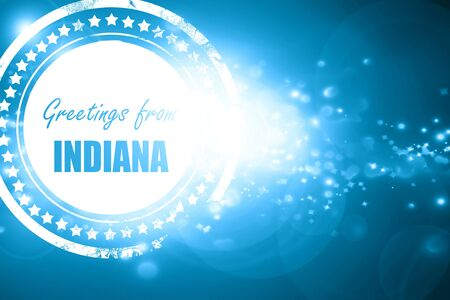 indiana: Glittering blue stamp: Greetings from indiana with some smooth lines