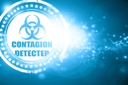 contagion: Glittering blue stamp: contagion concept background with some soft smooth lines