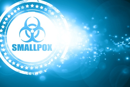 smallpox: Glittering blue stamp: smallpox concept background with some soft smooth lines