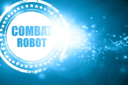 combat: Glittering blue stamp: combat robot sign background with some smooth lines Stock Photo