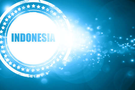 indonesia culture: Glittering blue stamp: Greetings from indonesia card with some soft highlights