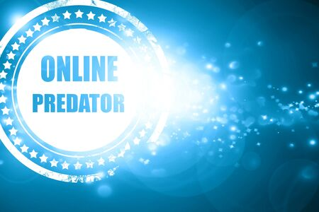 Glittering blue stamp: online predator background with some smooth lines Stock Photo