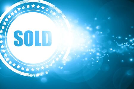 sold sign: Glittering blue stamp: sold sign background with some soft smooth lines