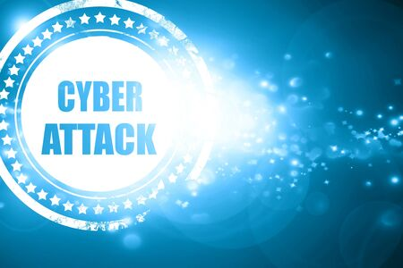 capitalized: Glittering blue stamp: Cyber warfare background with some smooth lines Stock Photo