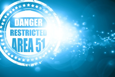 area 51: Glittering blue stamp: area 51 sign with some soft flowing lines Stock Photo
