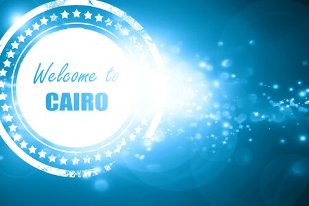 cairo: Glittering blue stamp: Welcome to cairo with some smooth lines Stock Photo