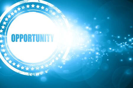 opportunity: Glittering blue stamp: opportunity Stock Photo