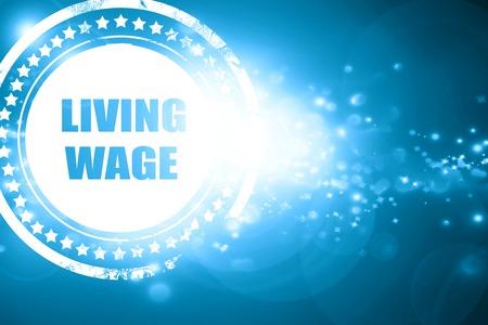 きらびやかな青いスタンプ: 生活賃金