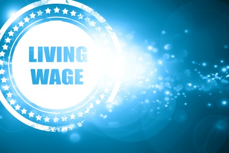 Glittering blue stamp: living wage