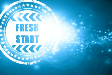 reformation: Glittering blue stamp: Fresh start sign with some smooth lines and highlights Stock Photo