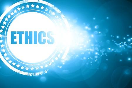 business ethics: Glittering blue stamp: ethics Stock Photo