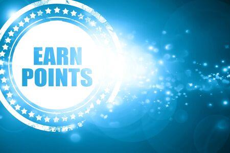 rewarding: Glittering blue stamp: earn points Stock Photo