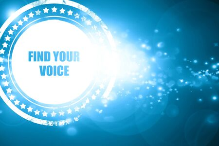 self discovery: Glittering blue stamp: find your voice