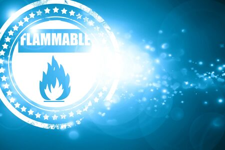 flammable: Glittering blue stamp: Flammable hazard sign with yellow and black colors Stock Photo
