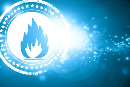 burnable: Glittering blue stamp: Flammable hazard sign with yellow and black colors Stock Photo