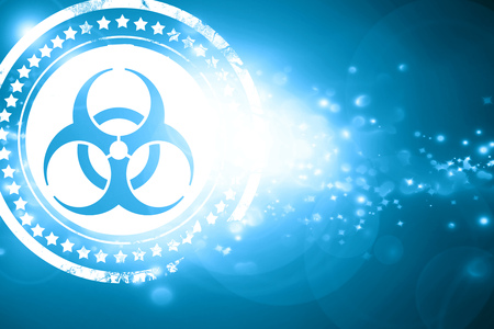 biological warfare: Glittering blue stamp: Bio hazard sign on a grunge background Stock Photo