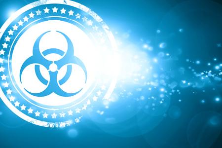 interdiction: Glittering blue stamp: Bio hazard sign on a grunge background Stock Photo