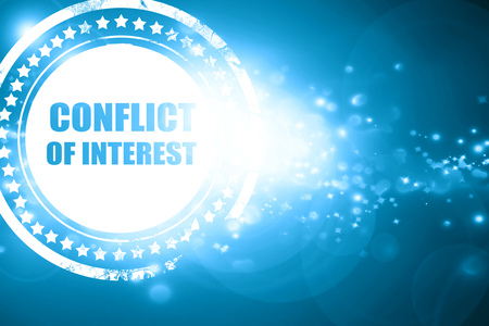 conflicting: Glittering blue stamp: conflict of interest