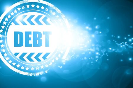 obligation: Glittering blue stamp: Debt sign with some smooth lines and highlights