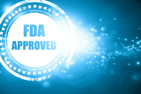 fda: Glittering blue stamp: FDA approved background with some smooth lines Stock Photo