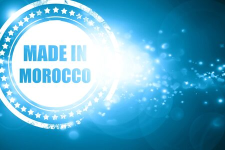 made in morocco: Glittering blue stamp: Made in morocco with some soft smooth lines Stock Photo