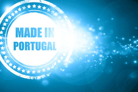 made in portugal: Glittering blue stamp: Made in portugal with some soft smooth lines Stock Photo