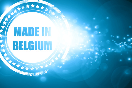 made in belgium: Glittering blue stamp: Made in belgium with some soft smooth lines