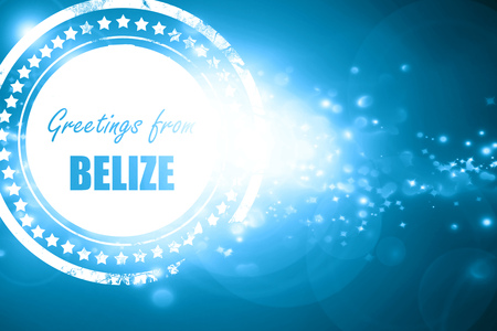 tourism in belize: Glittering blue stamp: Greetings from belize card with some soft highlights Stock Photo