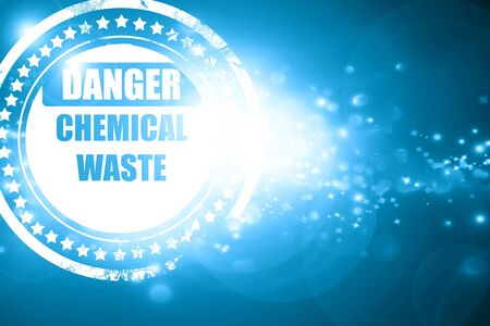 hazardous area sign: Glittering blue stamp: Chemical waste sign with some smooth lines