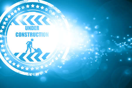 vivid colors: Glittering blue stamp: Under construction sign with some vivid colors Stock Photo