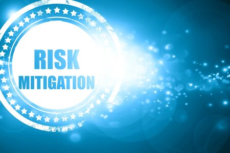 mitigating: Glittering blue stamp: Risk mitigation sign with some smooth lines and highlights
