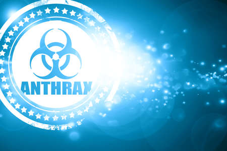anthrax: Glittering blue stamp: Anthrax virus concept background with some soft smooth lines