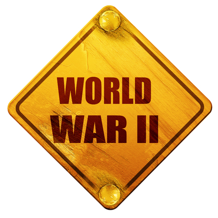 world war 2: World war 2 background with some smooth lines, 3D rendering, yellow road sign on a white background Stock Photo