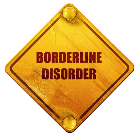 borderline: Borderline sign background with some soft smooth lines, 3D rendering, yellow road sign on a white background