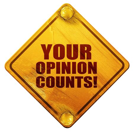 solicitation: your opinion counts, 3D rendering, yellow road sign on a white background Stock Photo