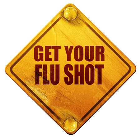 flu immunization: Get your fly shot background with some smooth lines, 3D rendering, yellow road sign on a white background Stock Photo