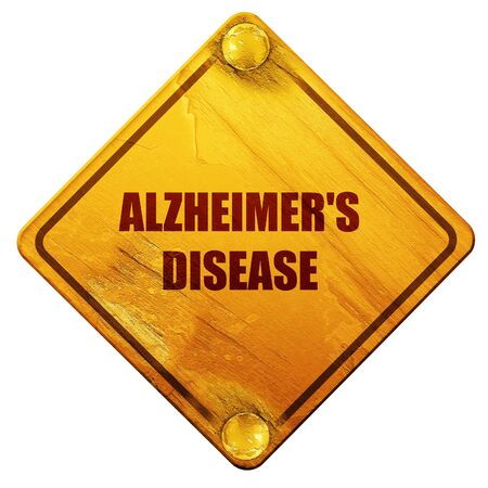 memory loss: Alzheimers disease background with some soft flowing lines, 3D rendering, yellow road sign on a white background