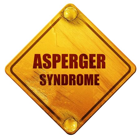 asperger syndrome: Asperger syndrome background with some soft smooth lines, 3D rendering, yellow road sign on a white background Stock Photo