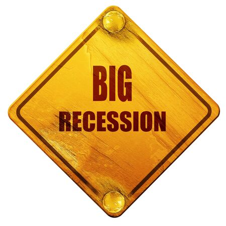 recession: Big Recession sign background with some smooth lines, 3D rendering, yellow road sign on a white background