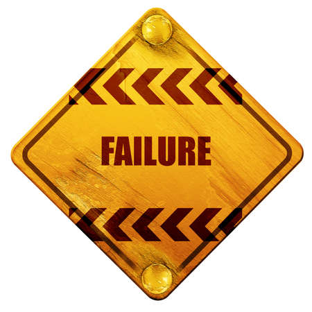 weakness: Failure sign with some smooth lines and highlights, 3D rendering, yellow road sign on a white background Stock Photo