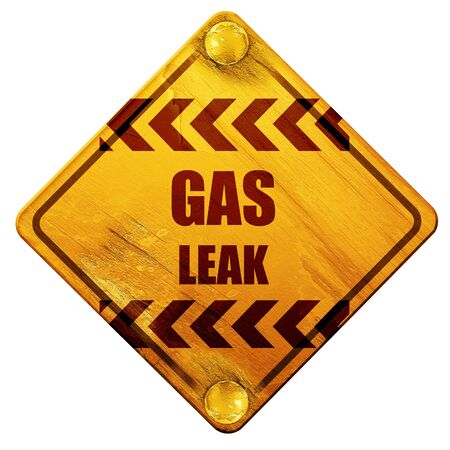 the leak: Gas leak background with some smooth lines, 3D rendering, yellow road sign on a white background Stock Photo