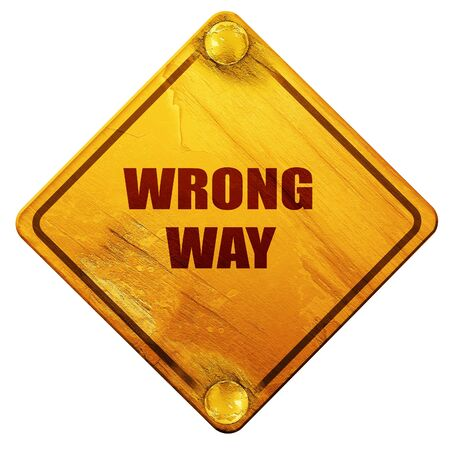 wrong way: wrong way, 3D rendering, yellow road sign on a white background Stock Photo