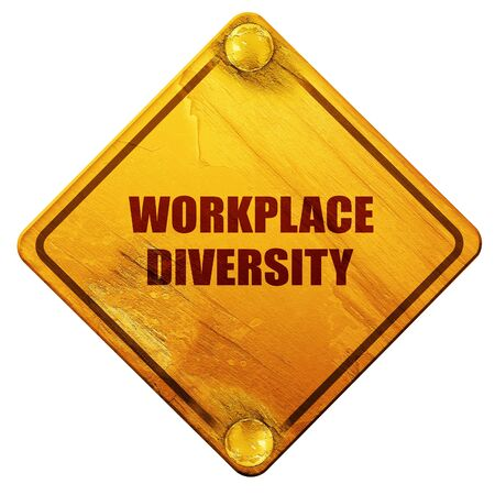 equal opportunity: workplace diversity, 3D rendering, yellow road sign on a white background